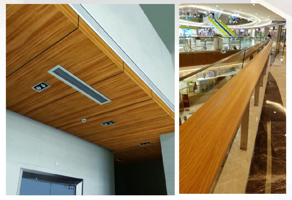 wooden coated coil /strips for aluminum wall decoration, aluminum handrail